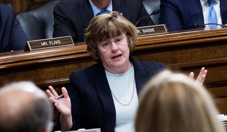Rachel Mitchell, counsel for Senate Judiciary Committee Republicans, questions Dr. Christine Blasey Ford during the Senate Judiciary Committee hearing on the nomination of Brett M. Kavanaugh