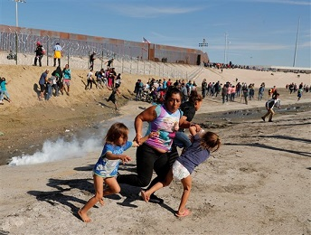 ILLEGALS RUN FROM TEAR GAS AND SAN DIEGO AND US AND TIJUANA