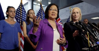 U.S. Senator Hirono introduces Holton Arms alumnae supporting Kavanaugh accuser Ford on Capitol Hill in Washington