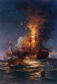 first barbary war ship burning