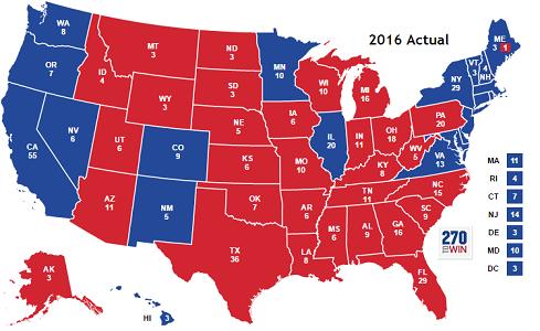 2016 Electoral map and electoral votes