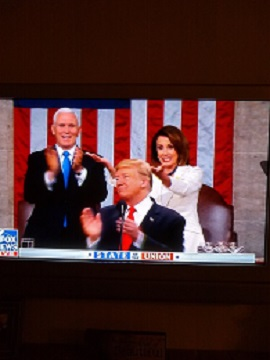 PELOSI AT STATE OF UNION SIGNALS 1