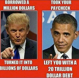 TRUMP OR OBAMA AND DEFICIT AND TAXES AND SPENDING